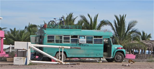 We have seen this bus parked on the beach a while back and again a few days ago.