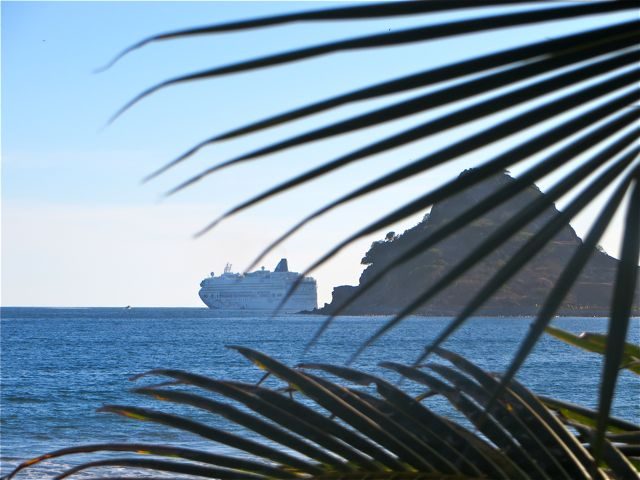 Just before sunset  and the onset of the termites we had a cruise ship leave.