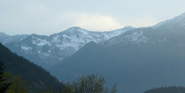 Woke up to fresh snow on the local mountains.