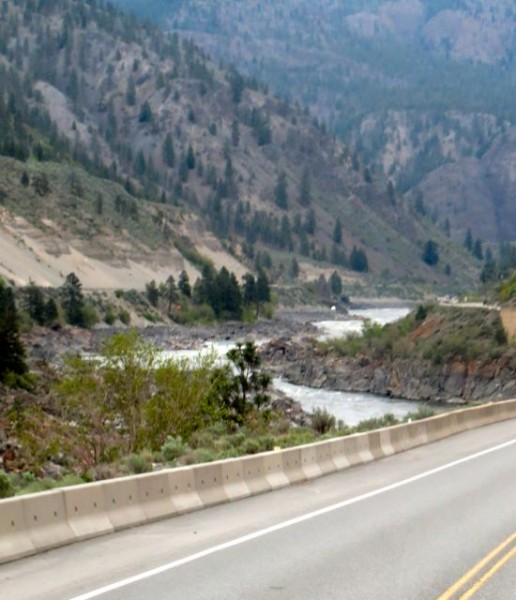 This route follows the Fraser River, we cross over it and back again, over and over.  A very scenic route for certain.
