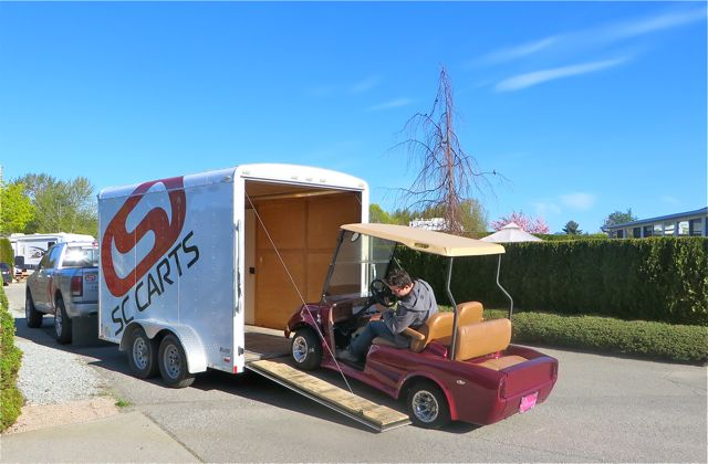 The golf cart was picked out and sent out for a checkup and tune up.