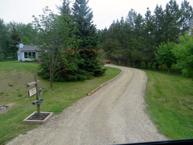 Our destination in Stony Plain.  Our friends driveway, slightly uphill and curved.  Somehow Colin got us in.  I had my doubts but he is an amazing guy.