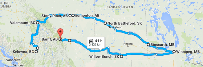 This is the proposed trip with a 2 night stay in BAnff and then back home.  We shall see how things going before traveling further than Edmonton.