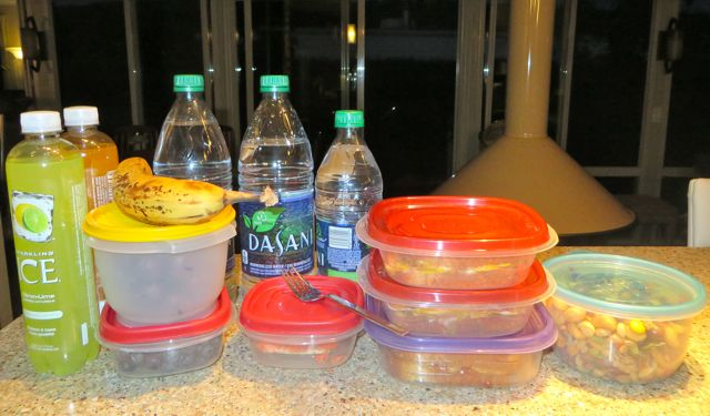 Colin is supposed to be gone form 6AM to 10PM.  So I packed him some water and cold drinks along with a banana, cherries & blueberries.  Then a small container of fresh BBQ salmon left over from last night.  Then 2 servings of veggie baloney and cheese sandwiches and one of PB and Jam.  The last round container hols a variety of nuts.