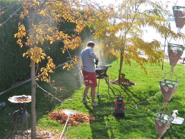 :ast Saturday was a perfect fall day and Colin spent several hours raking leaves, power washing the Weber to take to Mexico, cleam