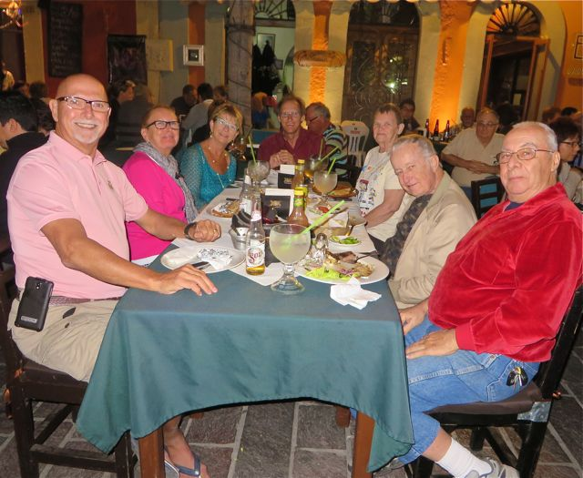 They all insisted that we join them for dinner.  So much for our romantic evening for two.  I wouldn't have missed it for anything. We had a blast.  By the way that is John and Jackie on the left.  They left yesterday for Guadalajara, San Miguel for 5 weeks and then onto Puerto Vallarta.  They are not RVers but they love to travel and it is all documented on Jackies blog.