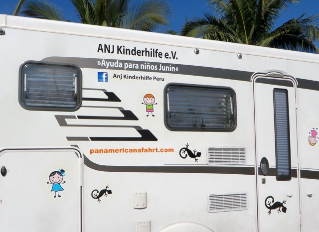 Their blog info re their journey as well as the orphanage info is marked on the side of their RV.