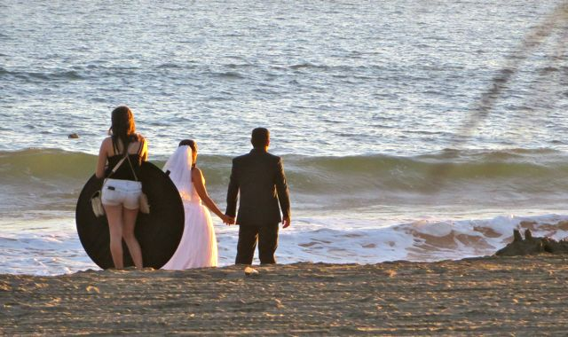 Ahh sunset, that magical hour for bridal photos.