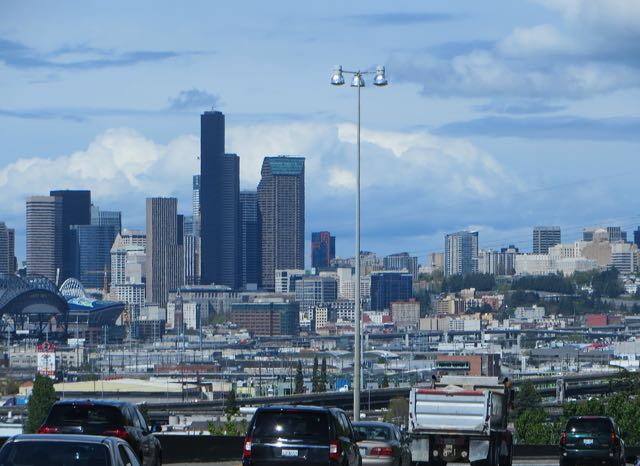 The rain stopped and the sun made a brief appearane as we appriached Seattle.