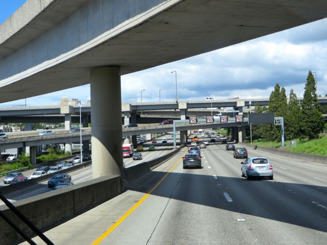 Much more traffic and more overpasses.