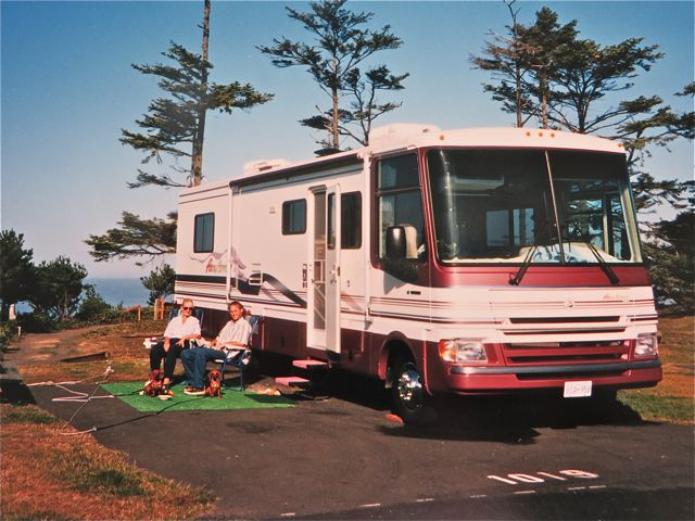 Our first RV, photo taken in Newport, Oregon. Likely the spring of 2000.