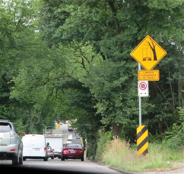 I had never seen a sign like this before. Saving the trees and if you are a high vehicle move to the center lane.