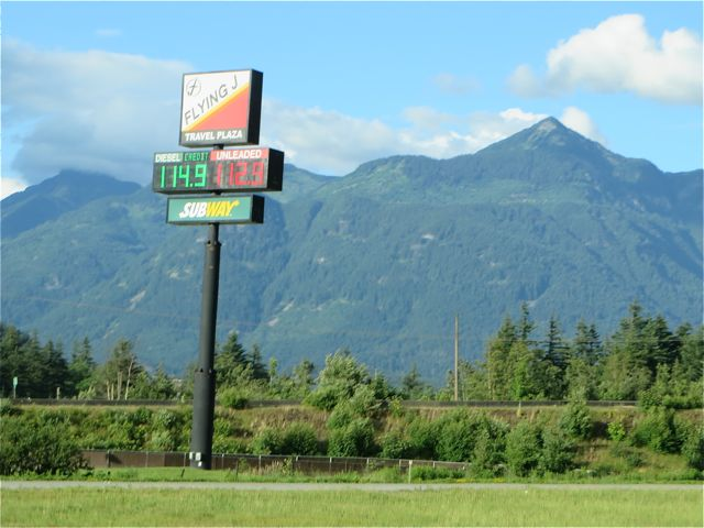 We are paying 1.239 per liter here in Kelowna and in the lower mainland it was all over the place. The lowest we saw was 1.099