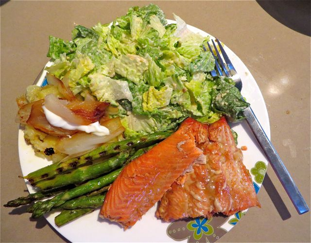 It was even better than any other salmon we had cooked. That is BBQ ed onion Ihave over my potatoe.