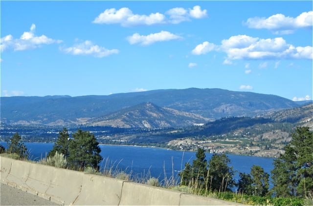 The highway follows Okanagan Lake for close to 90 miles, very scenic. We actually cross over the lake coming into Kelowna and it remains on our right all the way to Vernon. We can't see it once we corss the drigde intot town but even here at our home on our lake we are only 10 minutes away.