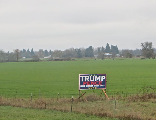 I think the sign tells a story. This is only the 6th Trump sign we have seen since the Canadian border. We have however not seen one single Hillary sign. Hmmm.