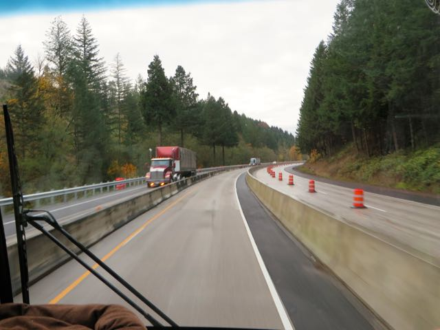 Somewhere north of Roseburg we encountered road construction. Colin commenteted on what would happen if we had a tire blow out or our engine died.