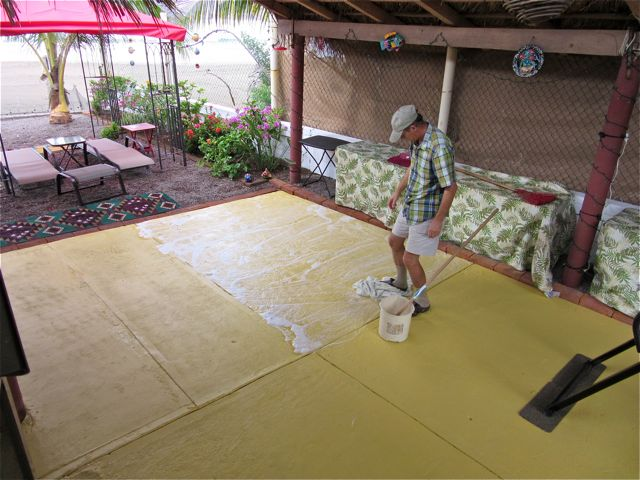 The new patio was a mess so Colin ended up washing it.